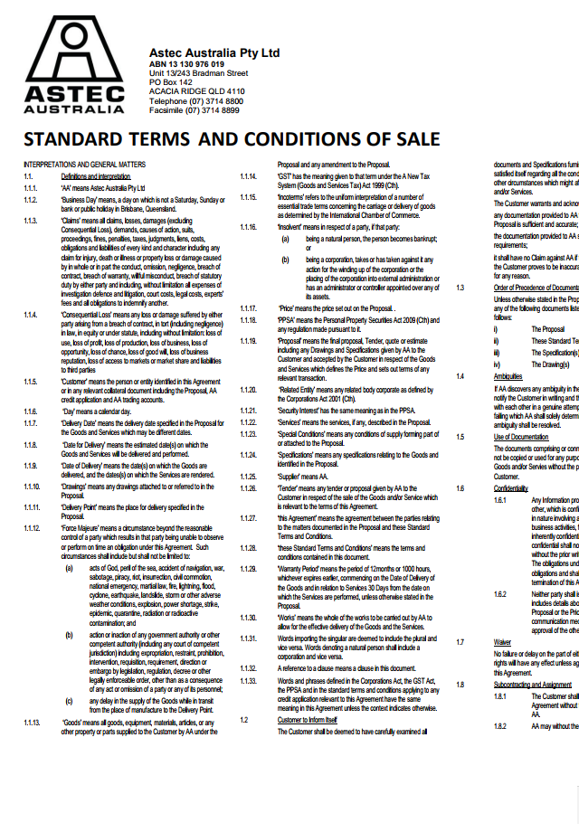 Astec Standard Terms & Conditions